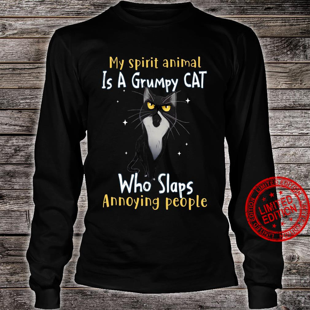 My Spirit Animal Is A Grumpy Cat Who Slaps Annoying People Shirt long sleeved