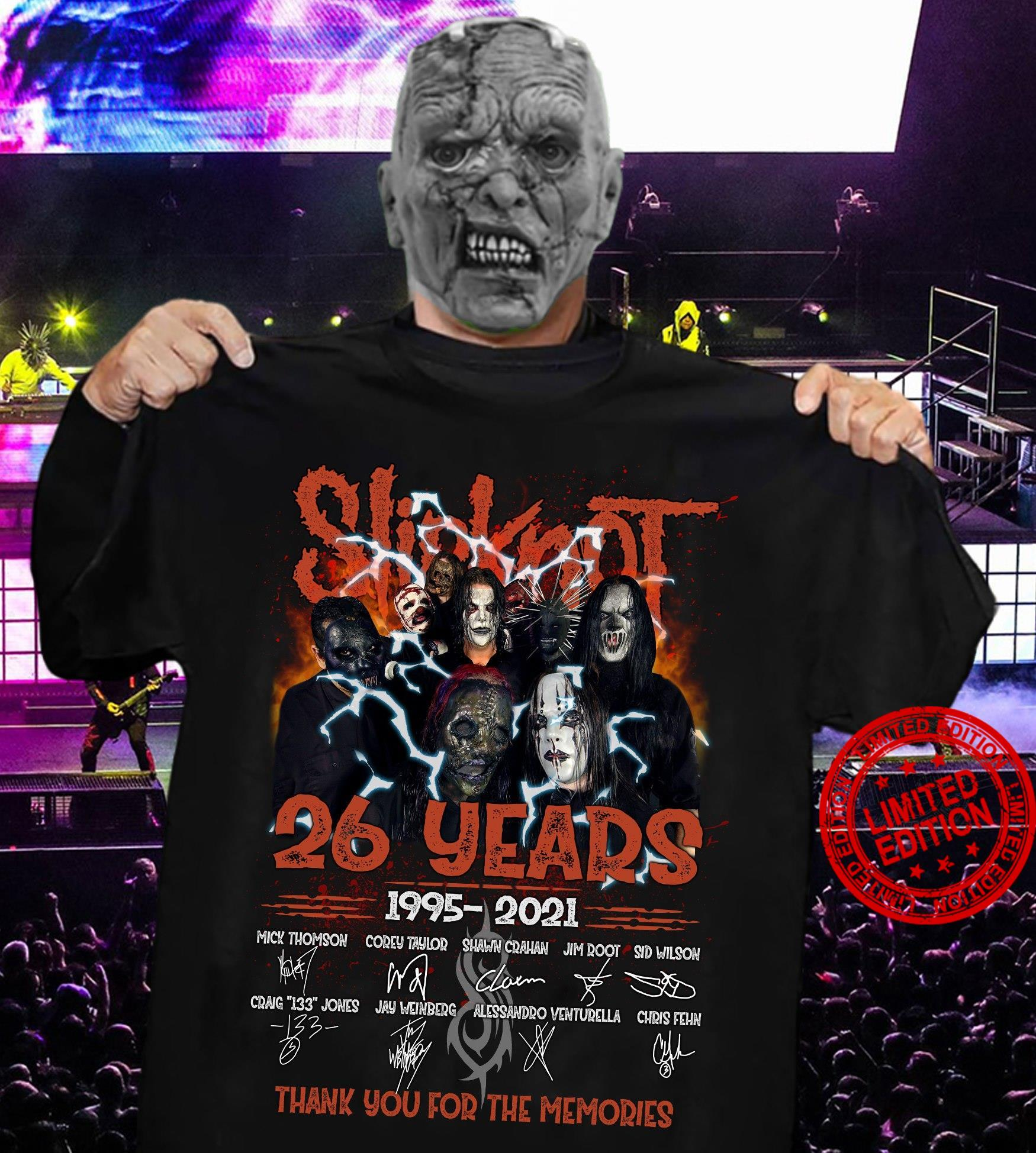 Slipknot 26 Years 1995-2021 Thank You For The Memories Shirt