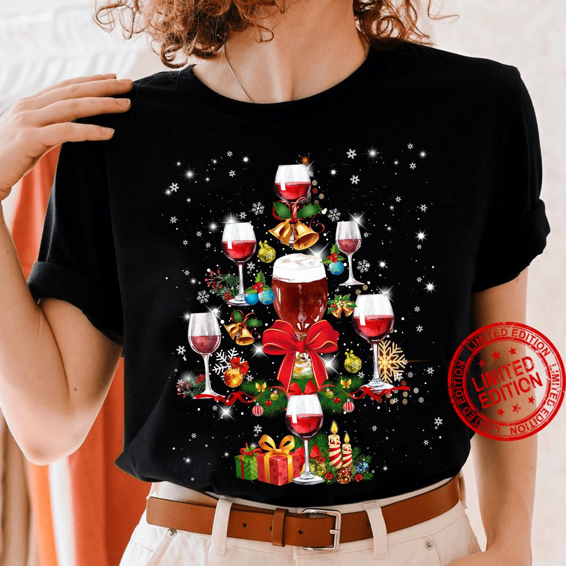 Wine Tree Merry Christmas Shirt