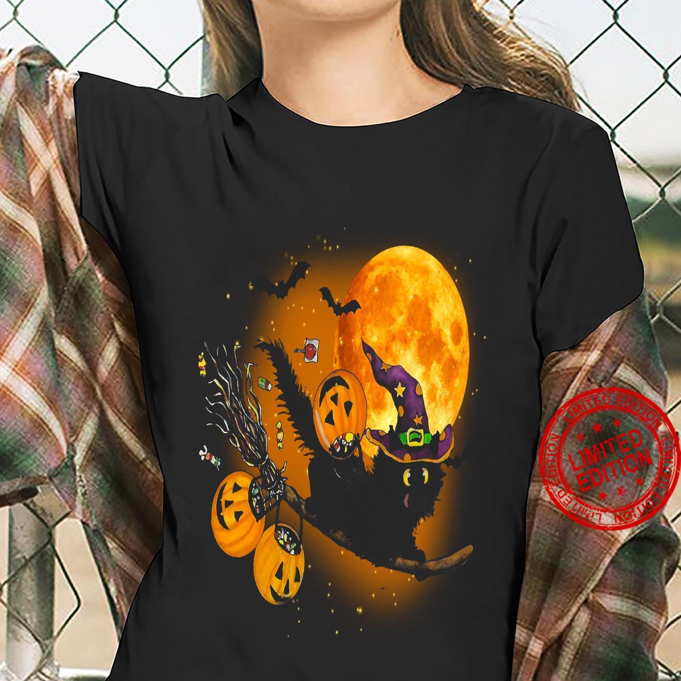 Witch Cat Happy Halloween Shirt ladies tee