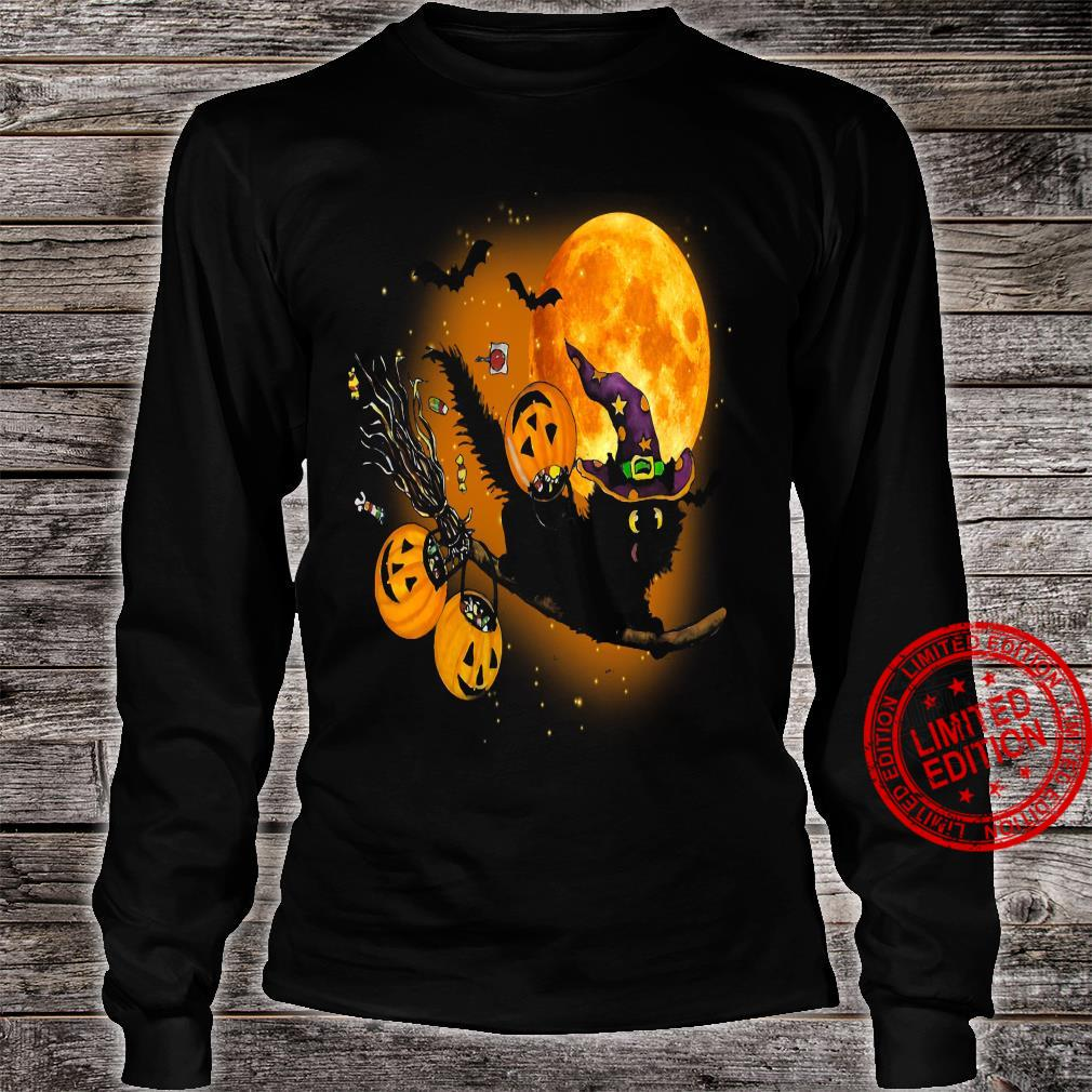 Witch Cat Happy Halloween Shirt long sleeved