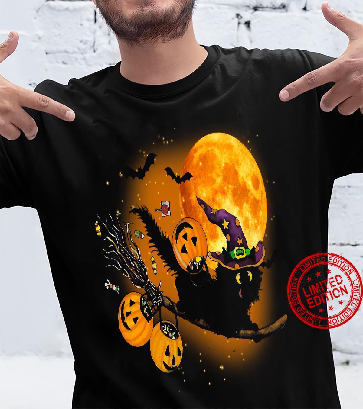 Witch Cat Happy Halloween Shirt unisex