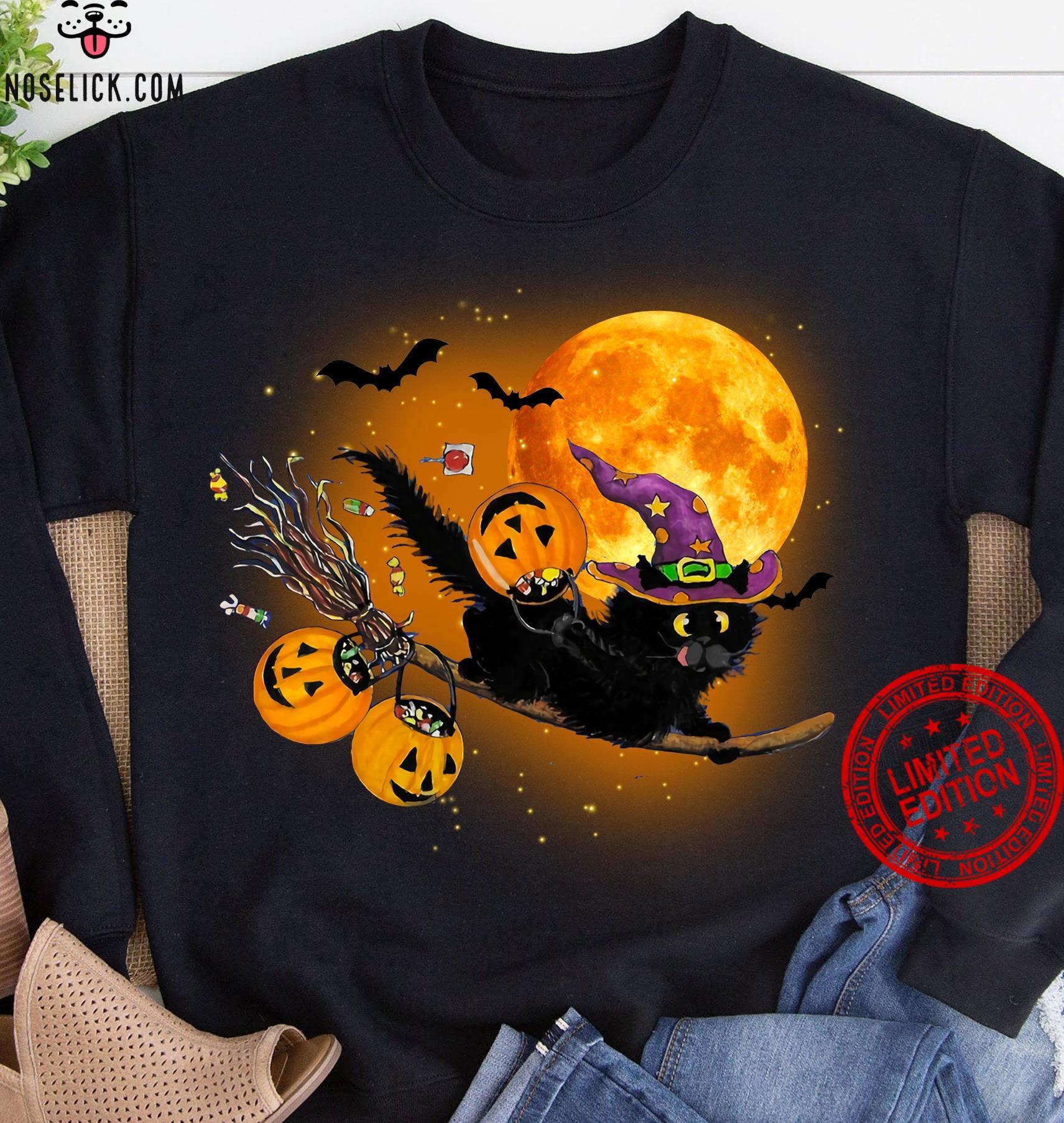 Witch Cat Happy Halloween Shirt