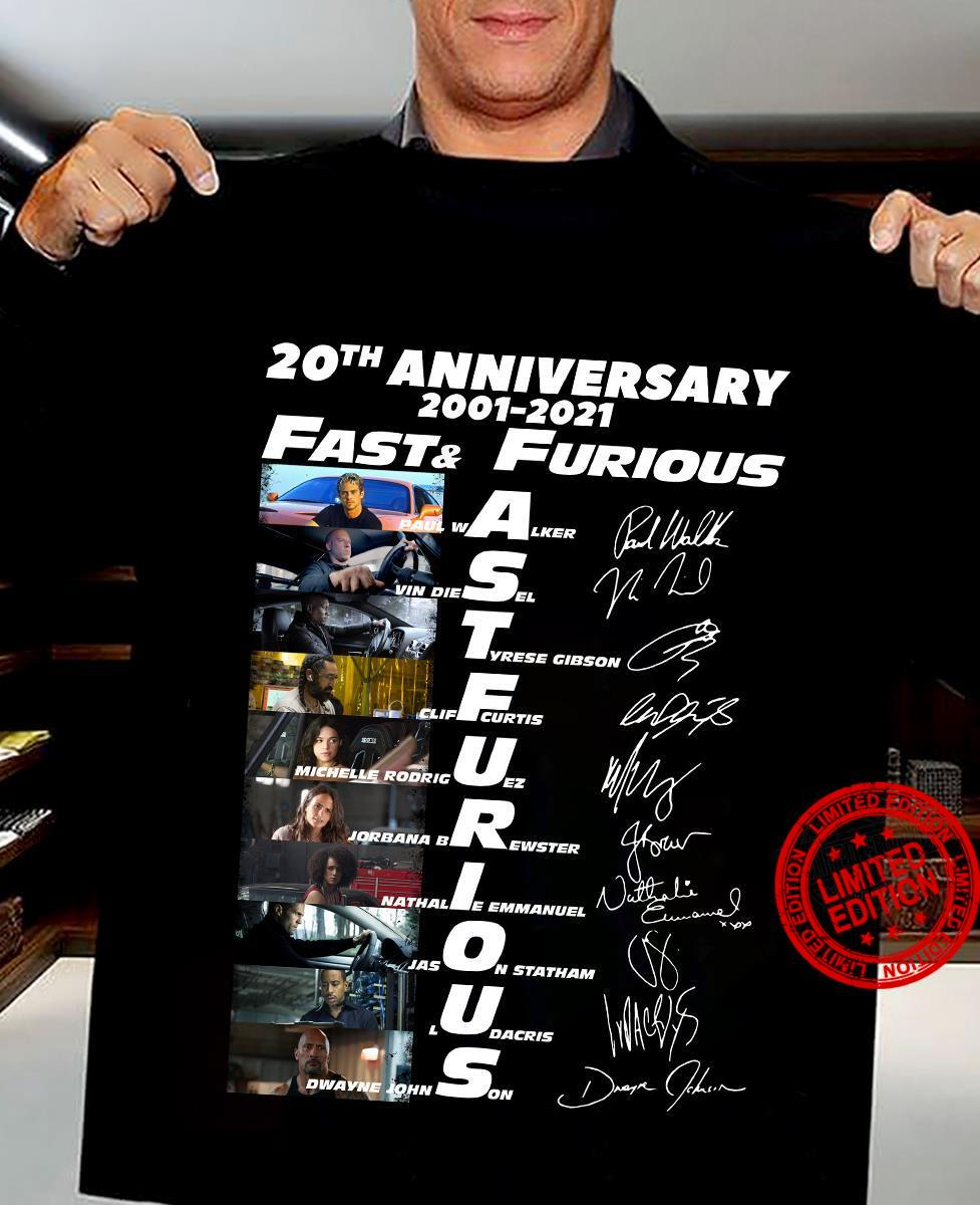 20h Anniversary 2001-2021 Fast And Furious Signatures Shirt