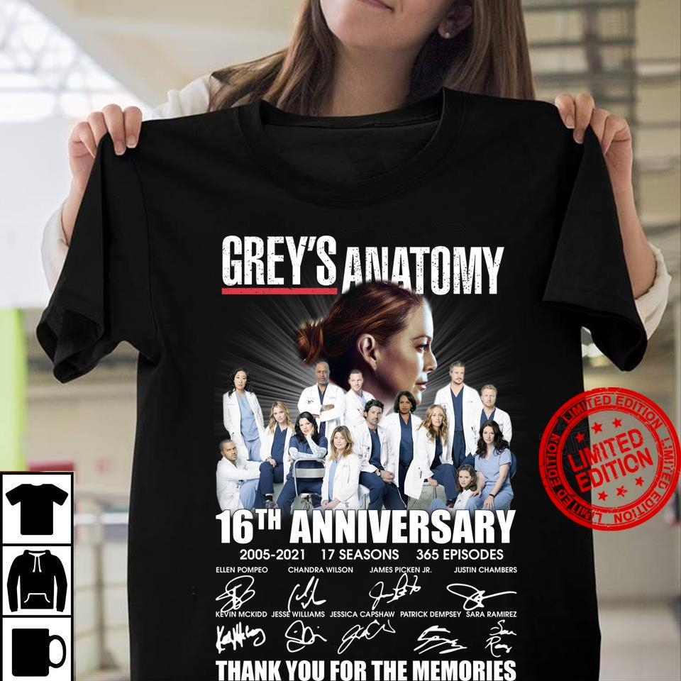 Grey's Anatomy 16th Anniversary Thank You For The Memories Shirt