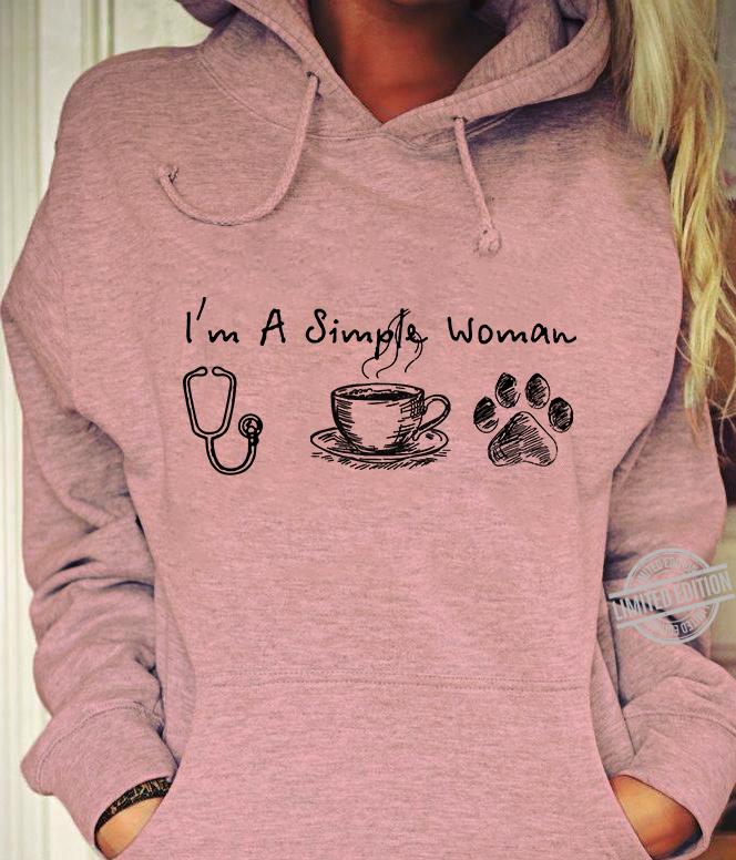 I'm A Simple Woman Nurse Coffee And Paw Dog Shirt