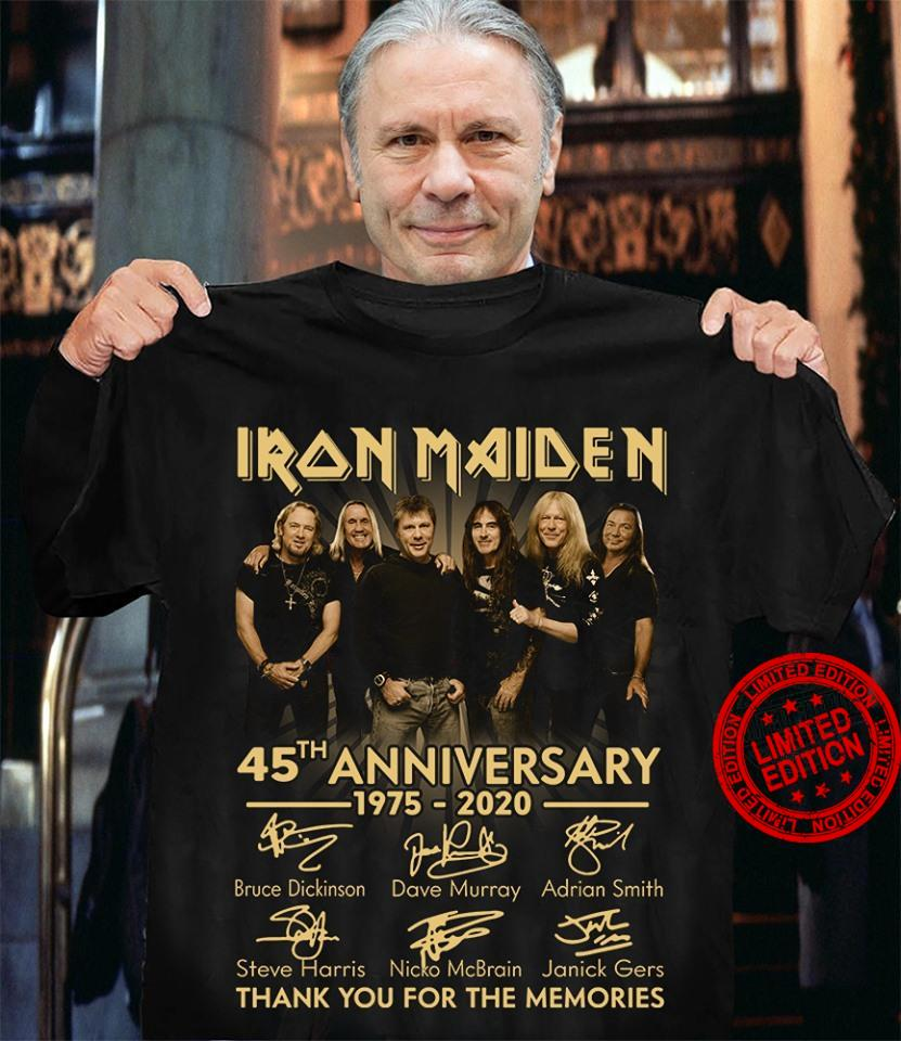 Iron Maiden 45th Anniversary 1975 2020 Thank You For The Memories Shirt
