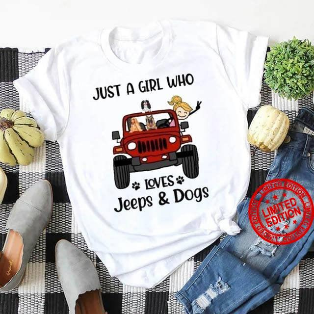 Just A Girl Who Loves Jeeps Dogs Shirt