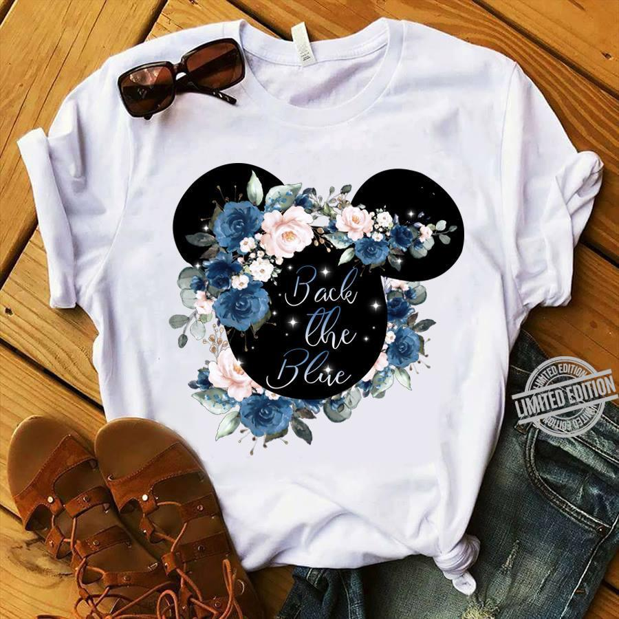 Mickey Mouse Flower Back The Blue Shirt