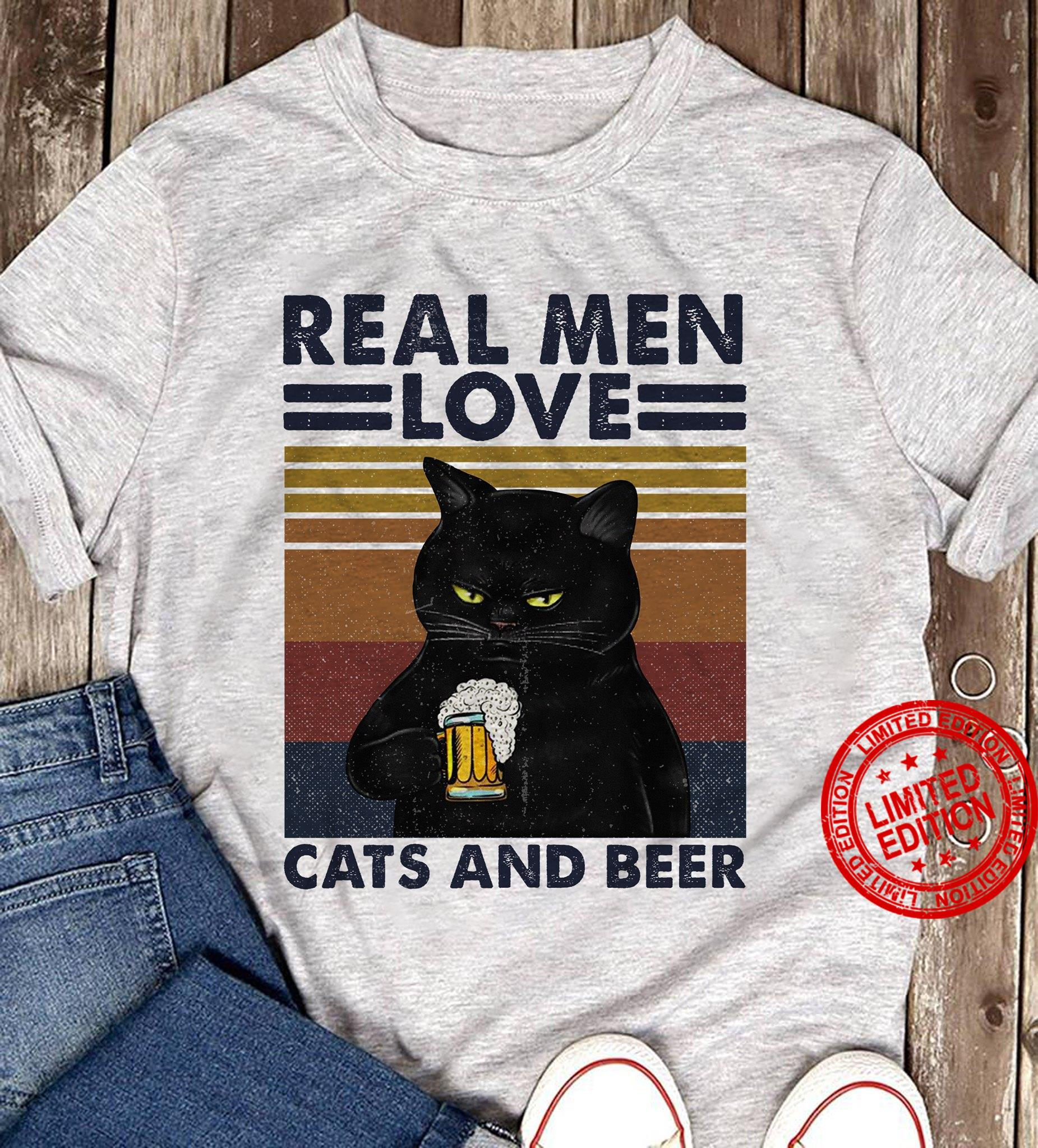 Real Men Love Cats And Beer Shirt